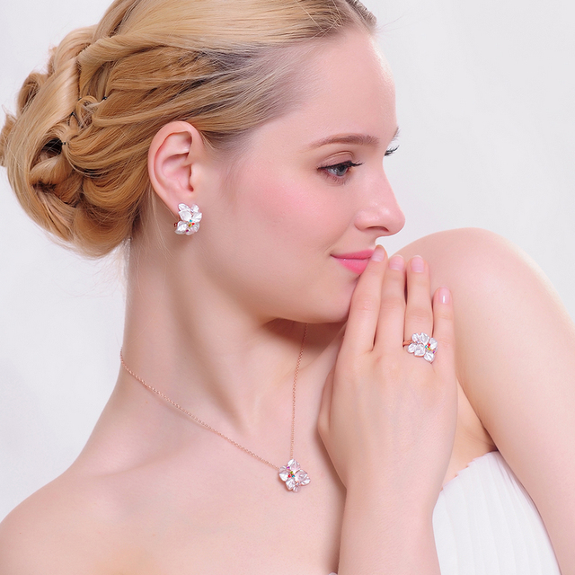 Rose Gold Plated Austrian Crystal Jewelry Set with Enamel Flower Earrings, Necklace and Ring