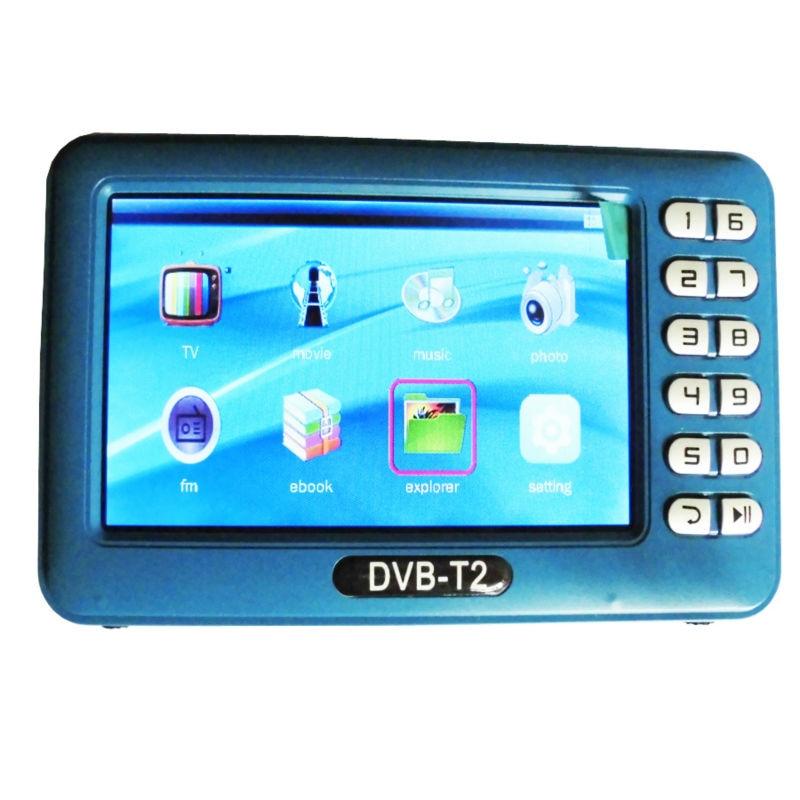 DVB T2 DVB T dvbt2 dvbt Mini récepteur TV avec antenne 4.3 pouces écran LCD lecteur TV boîtier pour DVB-T2/DVB-T/FM Support TF carte