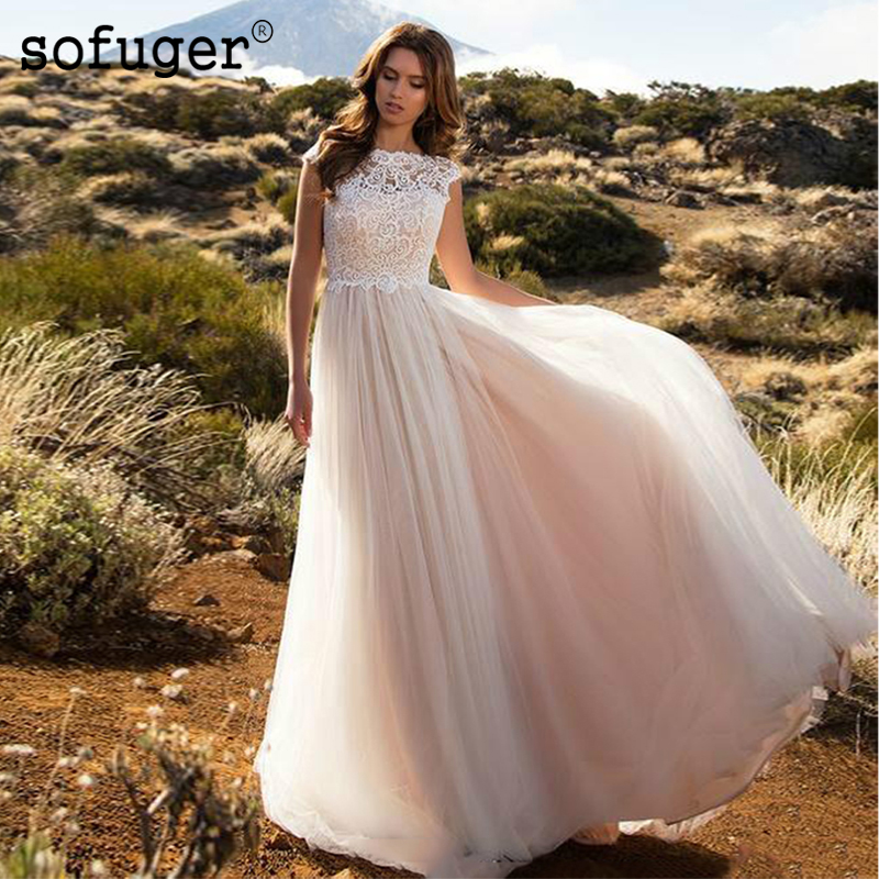SOFUGE Boho Ivory Wedding Dress A Line Tulle Bride Dress White Lace Top Wedding Gown 2019