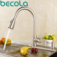 BECOLA Newest Pull out Spray Kitchen Faucet Mixer Tap brushed nickel single hand kitchen tap mixer brass LH-8105