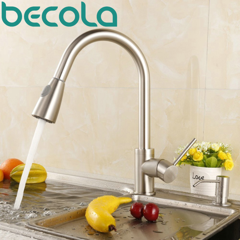 Newest Pull out Spray Kitchen Faucet Mixer Tap brushed nickel single hand kitchen tap mixer brass