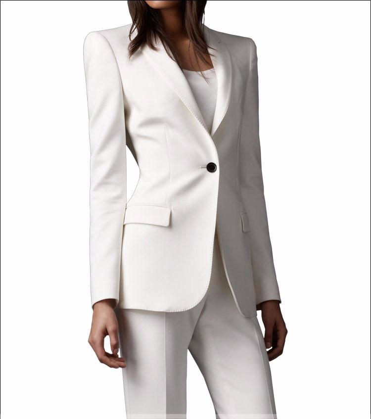 cd14361d6c1 Slim Fit 2016 Custom made Ivory Women Pant Suits Shawl Lapel Fashion Long  Sleeve Ladies One Button jacket+pants