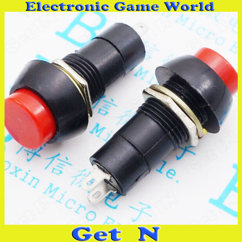50pcs Flashlight Switch PBS-11A 12MM 2DIP Pins with Hole Self Locking Power ON/OFF Switches Push Button Red