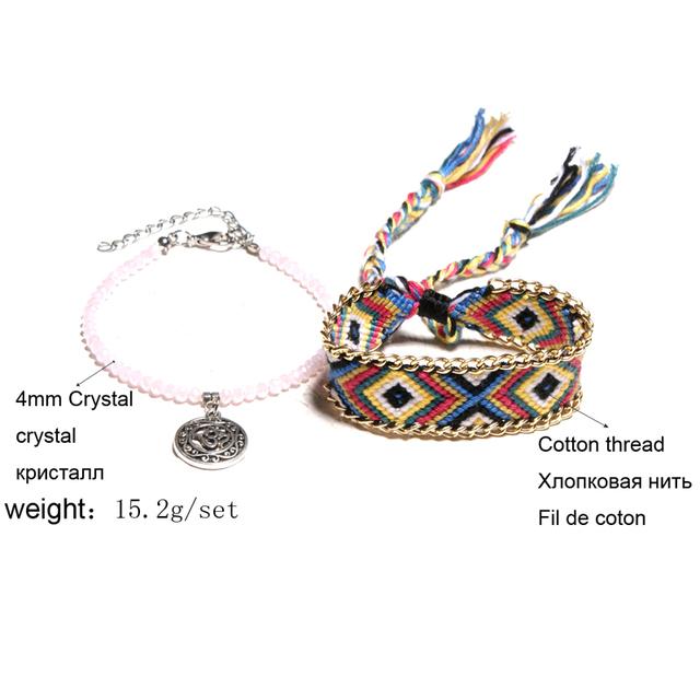 Crystal Bead Handmade Cotton Anklet Bracelets