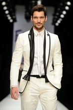 Beige Mens Fashion Stylish Suits Men Tailored Makde Business Peak lapel With Black Edge Wedding Jacket Pants 2PCS