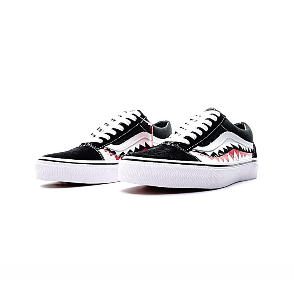 Original Vans Sneakers Mens Womens Classic X Bape Sharktooth Custom Bape Skateboarding Shoes Sneakers Canvas Good VN0AY8Z7BPW