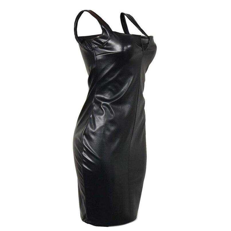 2018 Fashion Sexy Women PU Leather Black Dress Mesh Sleeveless Turtleneck Clubwear Party Dresses Vestidos Verano #F#40SP254