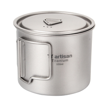 Tiartisan Kitchen Accessiories Titanium Collapsible Handle Cup 550ml Ultralight Coffee Mug Drinkware with Lid