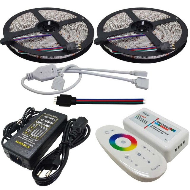 10M Flexible RGB Led Strip SMD 5050 Christmas Lights Tape Light + 2.4G Touch Panel RF Led Remote Controller+12V 6A Power Adapter