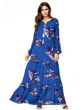 Women Blue Maxi Dress Spring 2019 Long Sleeves Loose Swing Flowers Dresses Female Floral Print Pleated bohemian dress