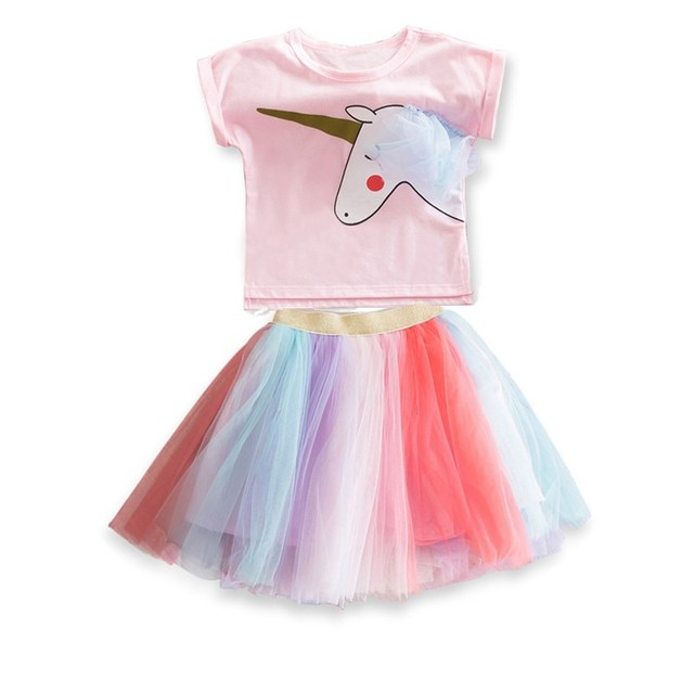 2-6Y Gaun Baru Ulang Tahun Tutu Putri gaun Pesta Bayi Perempuan Unicorn Anak  Colorful 9b323c4a1c