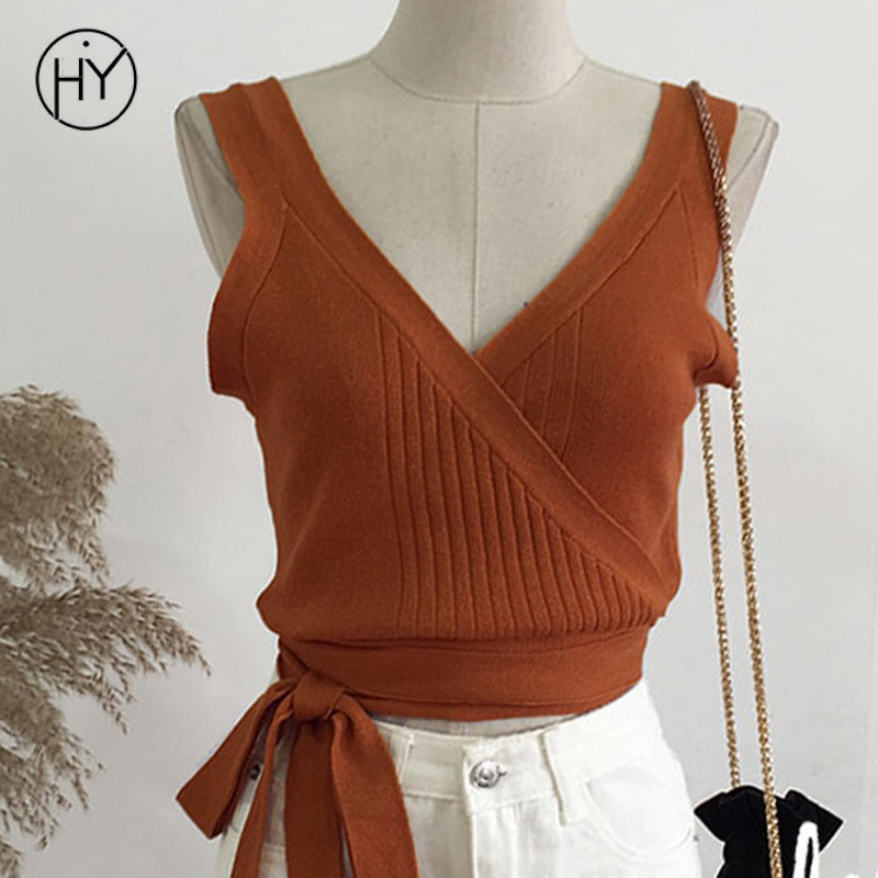 Acinth Girl Hy Knitted Women Crop Tops Bralette Casual Off White Deep V Neck Top Bow Sleeveless Tank Tops Summer Elastic Camis
