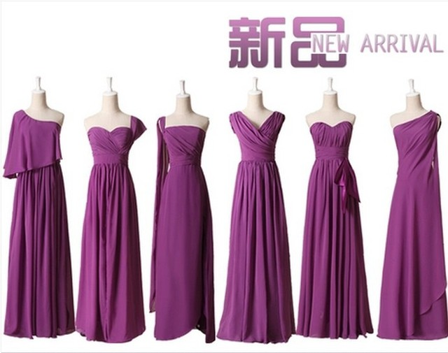 Customized Size Color Purple Violets Bridesmaid Dresses group Free ...