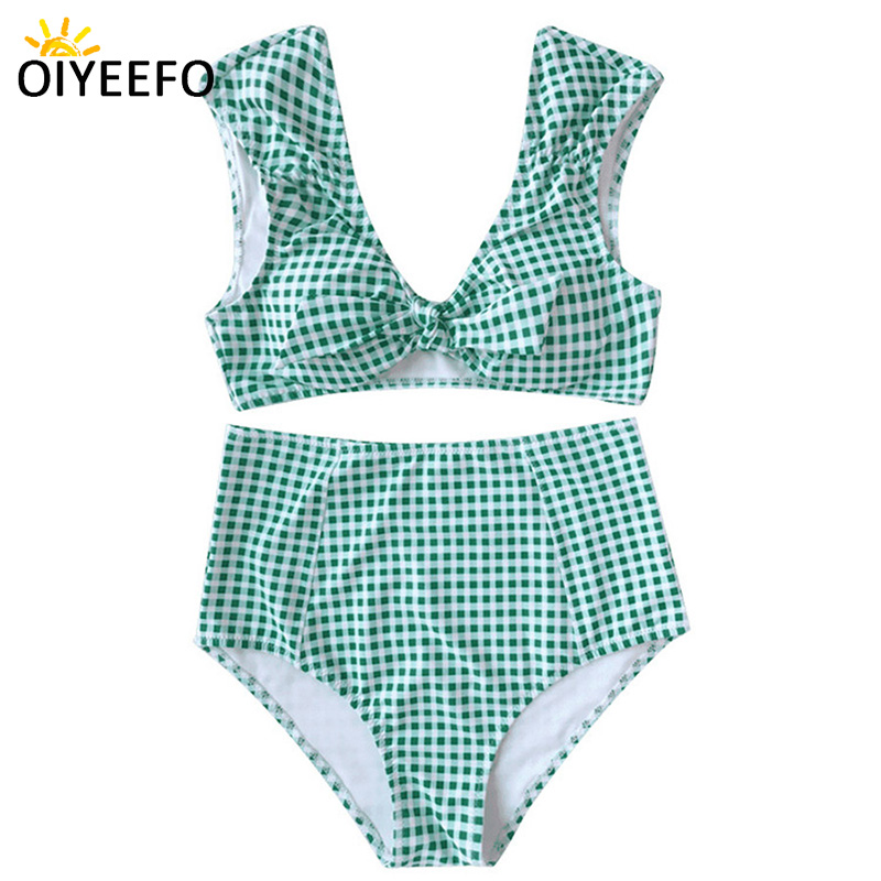 Oiyeefo Cute Plaid Korean Bikni High Waist Bathing Suit Women Tank Top Swimwear Plus Size Black Green Beach Swim Suit Plavky XL