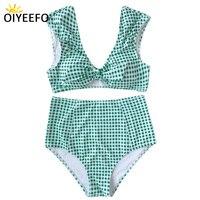 Oiyeefo Cute Plaid Korean Bikni High Waist Bathing Suit Women Tank Top Swimwear Plus Size Black