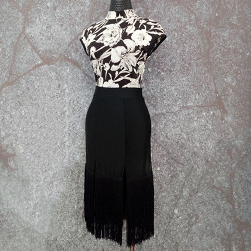 Латинский платье для танцев костюмы Для женщин Печать Cheongsam воротник бахромой Юбки латинские платья для продажи Samba Румба одежда DN1029