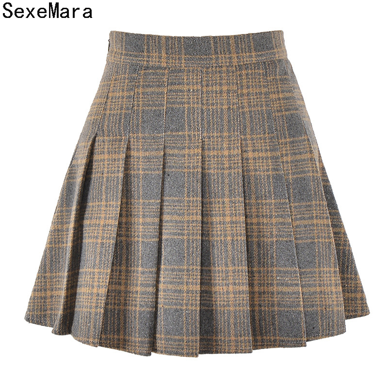 2017 Autumn Winter Fashion Women Elegant Wool Half Pleated mini Skirts High Waist Plaids Skirts Women Leggings Skirt XMM01