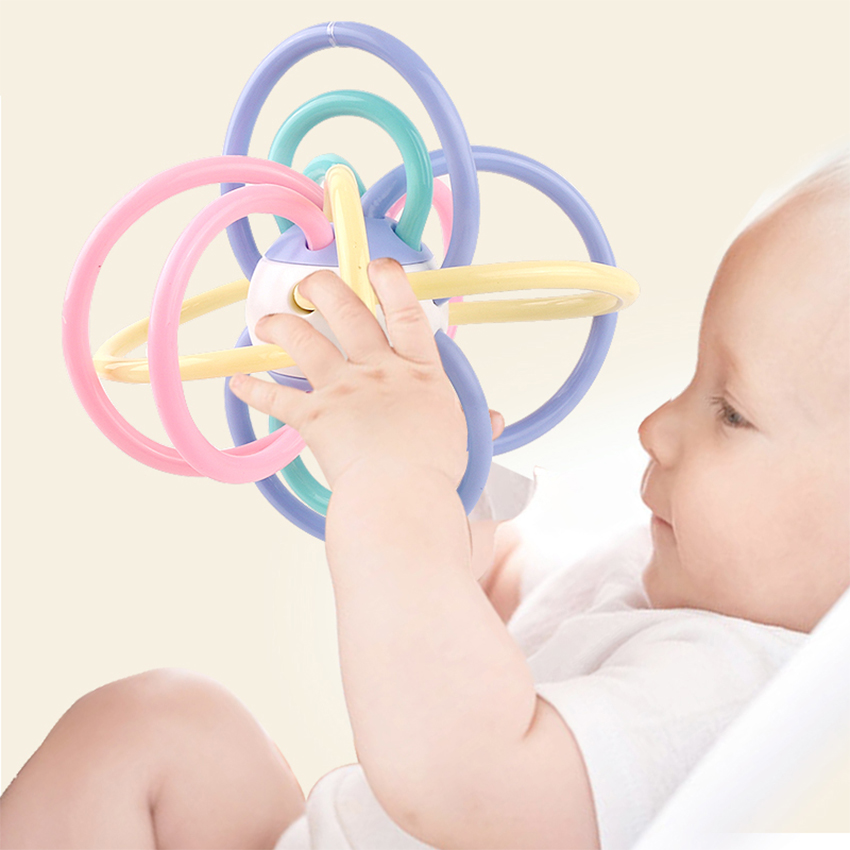 0 12 Months Newborn Baby Development Ball Safe Soft Teething Toys Plastic Hand Bell Early Educational Rattle Teether Baby Toys in Baby Rattles Mobiles from Toys Hobbies