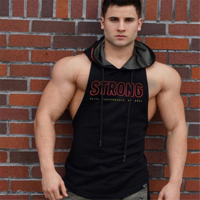 2018 Summer Men's Tank Top Hoodie Fitness Bodybuilding Muscle Cut Stringer Crossfit Workout Tank Top Activewear Male