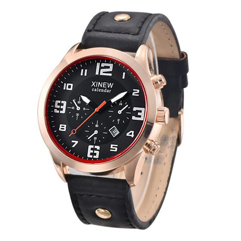 relogio masculino Men Luxury Stainless Steel Quartz Military Sport Leather Band Dial Wrist Watch reloj hombre clock gift drop sh sh brandmens dial sh035
