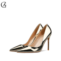 GOXEOU 2019 Women Pumps Thin Heel High Heels Sexy Pointed Toe Sequined Cloth Wedding Office Handmade Plus size Free Shipping 42