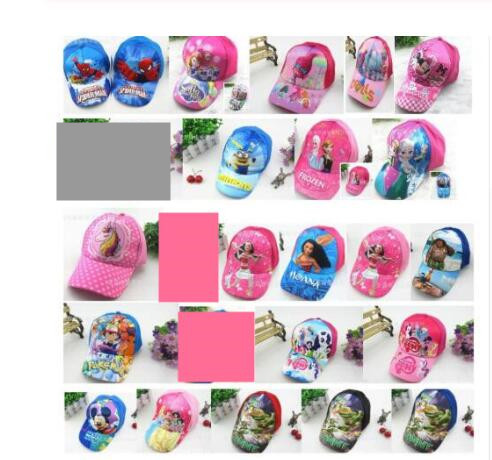 1pcs cartoon mickey minnie Trolls moana mix boy girl Fashion Sun Hat Mario Casual Cosplay   Baseball     Cap   children gifts MZ-01