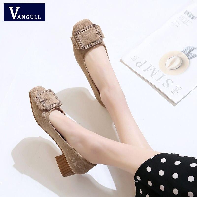 Женские туфли-лодочки VANGULL, повседневные туфли из искусственной кожи с квадратным носком, на толстом каблуке, в стиле ретро, весна-осень, 2019