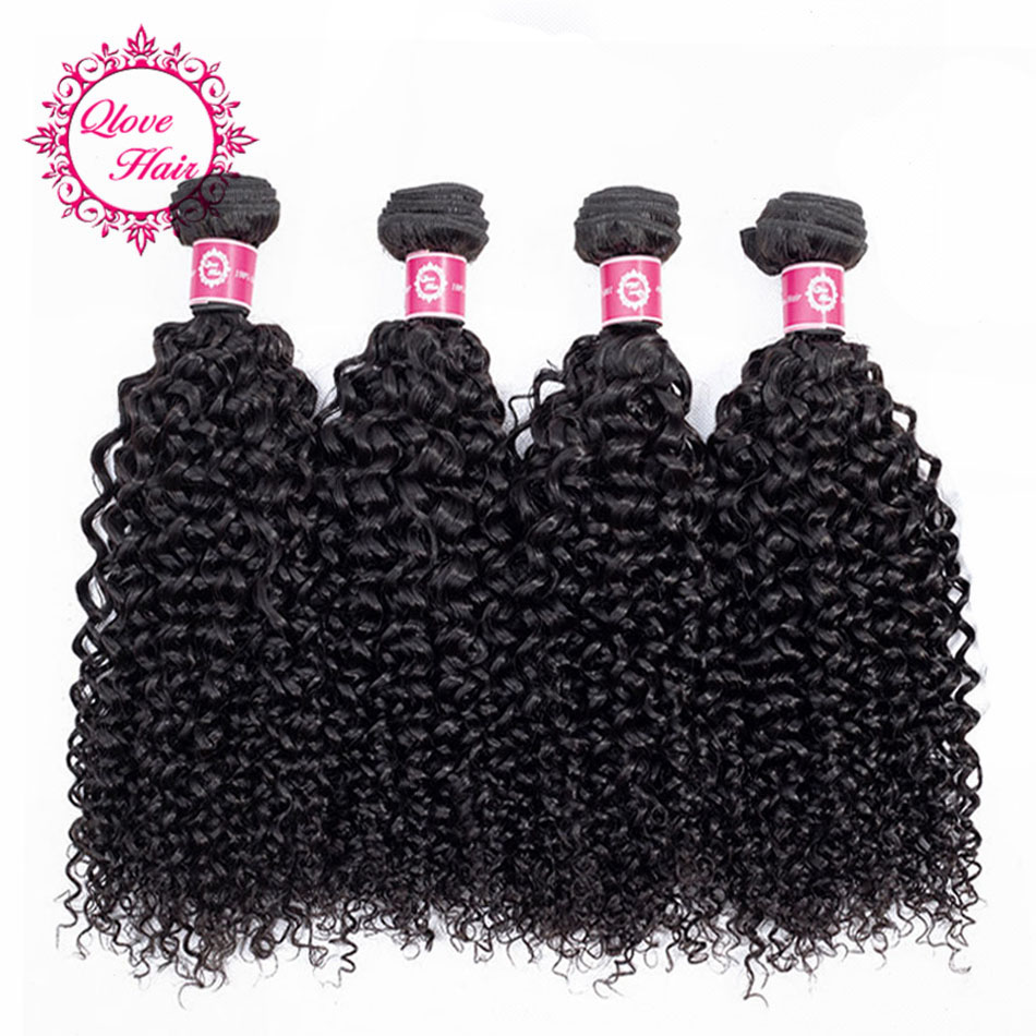 QLove Hair Pre-Colored Brazilian Kinky Curly 4 Bundles 100% Human Hair Natural Color Non Remy Hair Weave Free Shipping