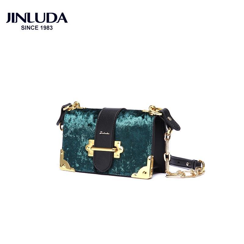 JINLUDA Chained Handbags 2018 New Fashion Solid Soft Case Vintage Velvet Leather Small Square Shoulder Messenger Bag