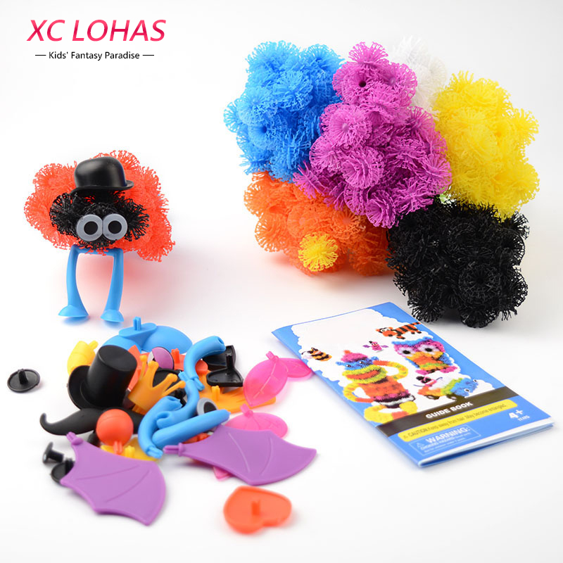 400 pcs Assemble 3D Puzzle DIY Puff Ball Squeezed Ball Creative Thorn Ball Clusters Handmade Educational Toys Birthday Gifts