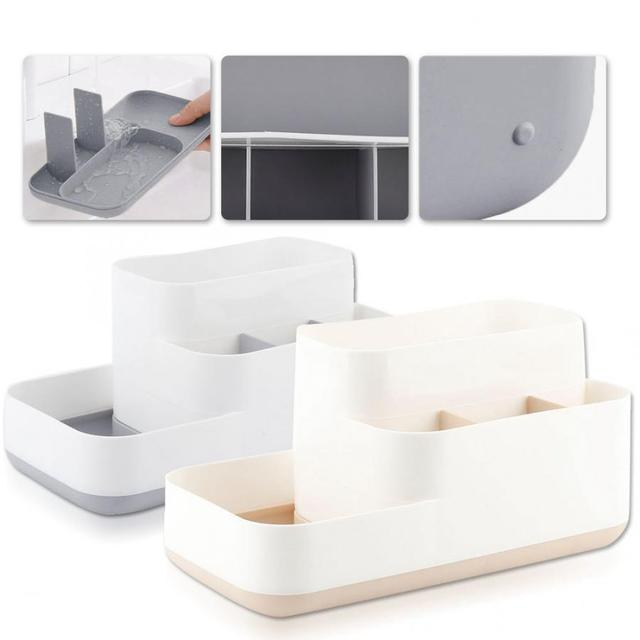 2 Colors  Cosmetic Storage Box with Drawer Makeup Brushes Dressing Table Rack Case Lipstick  Organizer Container