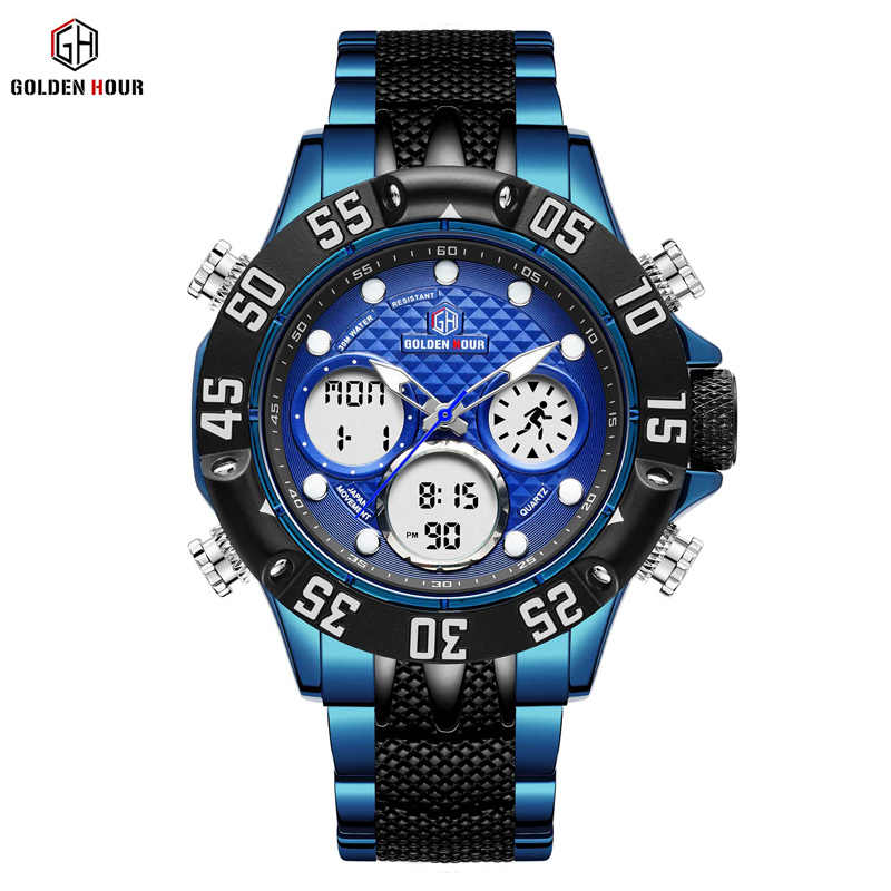 GOLDENHOUR Luxury Brand Blue Business Army Military Sport Watches Men Steel Digital Quartz Analog Watch Clock Relogios Masculino