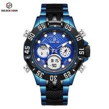 GOLDENHOUR Luxury Brand Blue Business Army Military Sport Watches Men Steel Digi