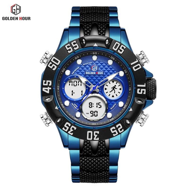 GOLDENHOUR di Marca di Lusso Blu di Affari di Sport Esercito Militare Guarda Gli Uomini In Acciaio Al Quarzo Digitale Analogico Orologio Relógios Masculino