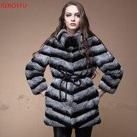 Лучшее качество настоящая шуба из Шиншиллы для женщин Натуральная Кролика Рекс меховая шуба уличная одежда женская натуральный мех пальто