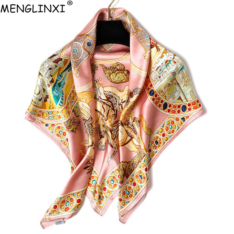 Luxury Brand 100% Silk Square   Scarf   Pure Silk   Scarf   Shawl Natural Silk Gemstone Print   Scarf   For Women Fashion   Scarves     Wraps