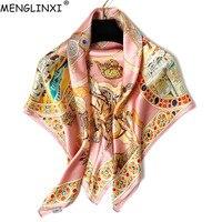 Luxury Brand 100% Silk Square Scarf Pure Silk Scarf Shawl Natural Silk Gemstone Print Scarf For Women Fashion Scarves Wraps