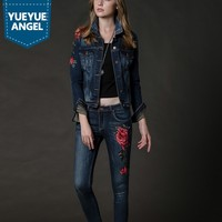 2019 Autumn Flower Pattern Denim Suit Women Embroidery Floral Single Breasted Jeans Jacket Pencil Pants Two Piece Outfit Set