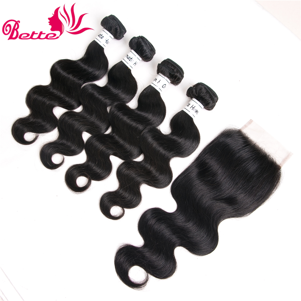Ornate 4 Bundles With Closure Brazilian Body Wave Human Hair Bundles With Closure Non Remy Hair Bundles Free Part Natural Color