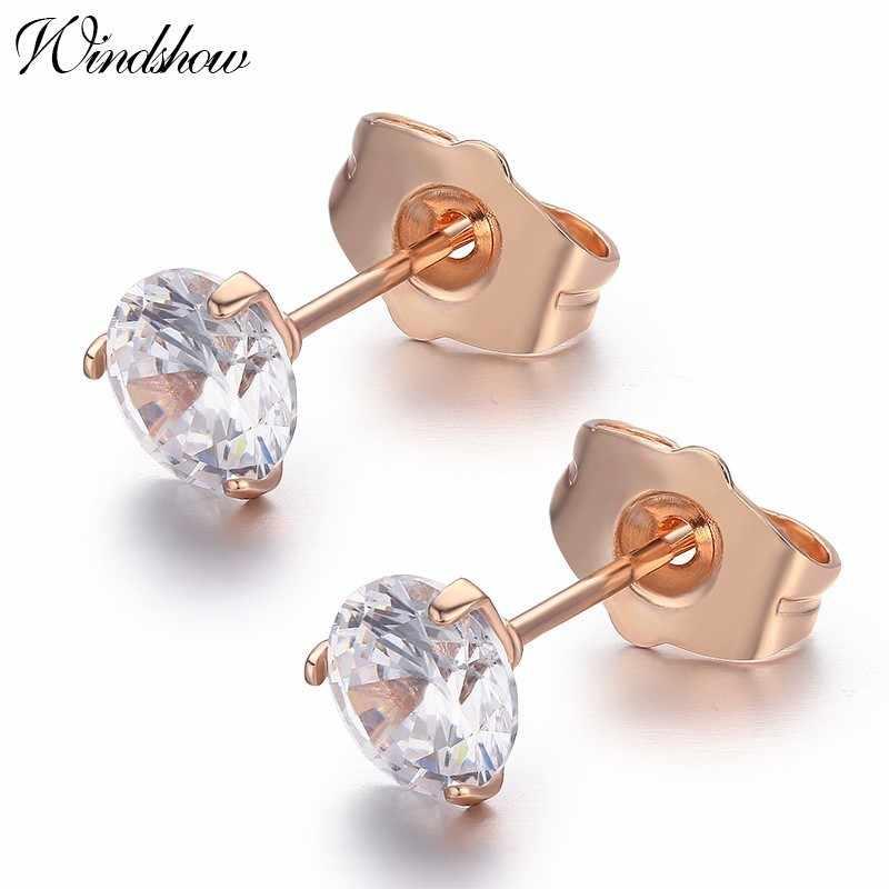 Bulat AAA CZ Kecil Stud Anting-Anting untuk Wanita Pria Anak Gadis Anak Piercing Perhiasan 3 Cakar Warna Emas 6 Mm aros Aretes Grosir