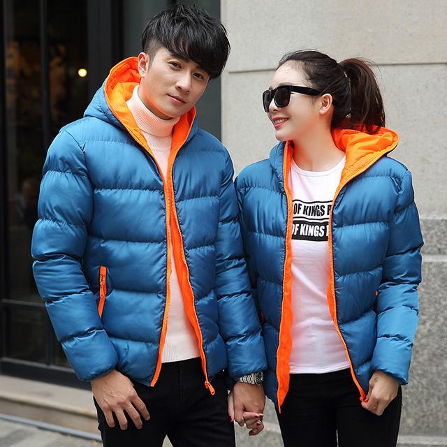 Parka Mulheres Jaqueta de Inverno 2016 Mulheres Parka Marca Jaqueta Das Mulheres Dos Homens de algodão Quente Casacos Jaqueta Jaqueta Ultra Light para baixo Parkas