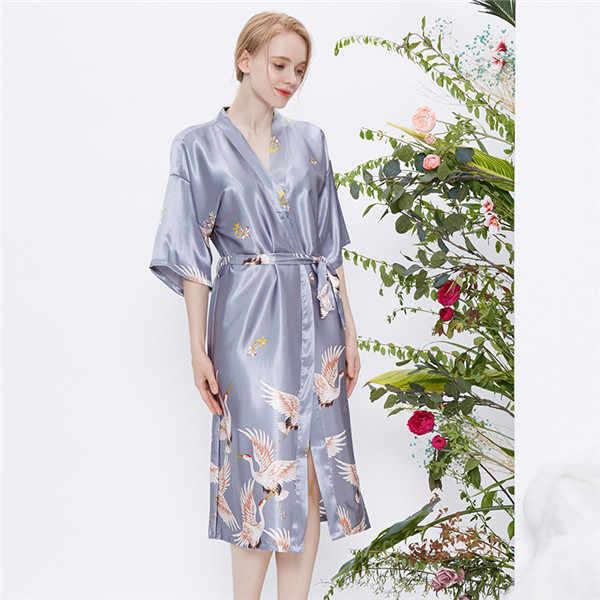 711903b638 New Print Floral Women's Satin Robe Sexy Lounge Bathrobe Nightgown Vintage  Kimono Yukata Bridesmaid Wedding Dressing Gown