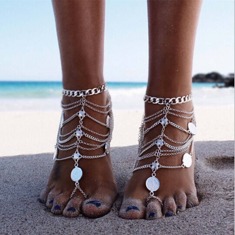 fashion accessories Creative retro coins with anklet chain Bohemia The Mediterranean Sea Beach foot decoration Women's jewelry