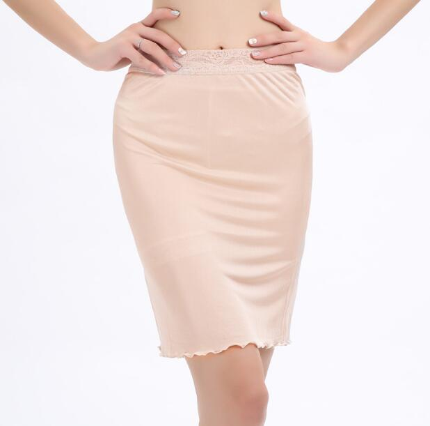 1PC 50% Silk 50% Viscose Knit Lace Half Slip Nightdress Sleepwear Underskirt M L XL XXL SS350