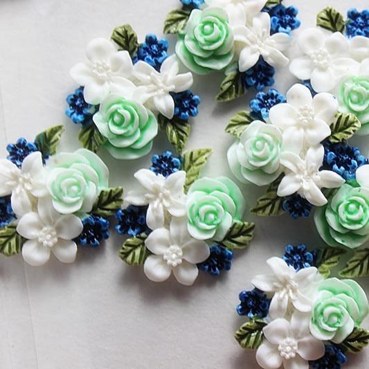 Шт. 10 шт. милые Exquite белый цветок Высокая умелая роспись каучуковый кабошон с плоским основанием DIY craft книги по искусству Скрапбукинг, 24 * мм 25 мм