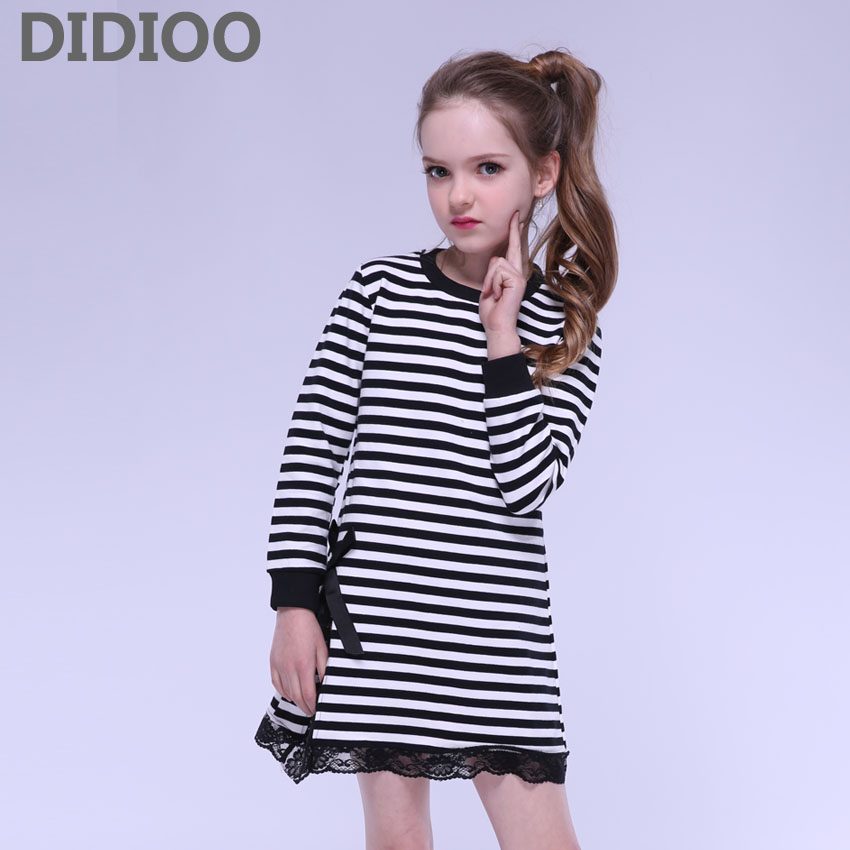 Children Girls Dress Long Sleeve Stripe Lace Dresses Kids Cotton Clothing for Infant Vestidos Clothes 2 8 9 12 Years Girls Dress поиграй со мной