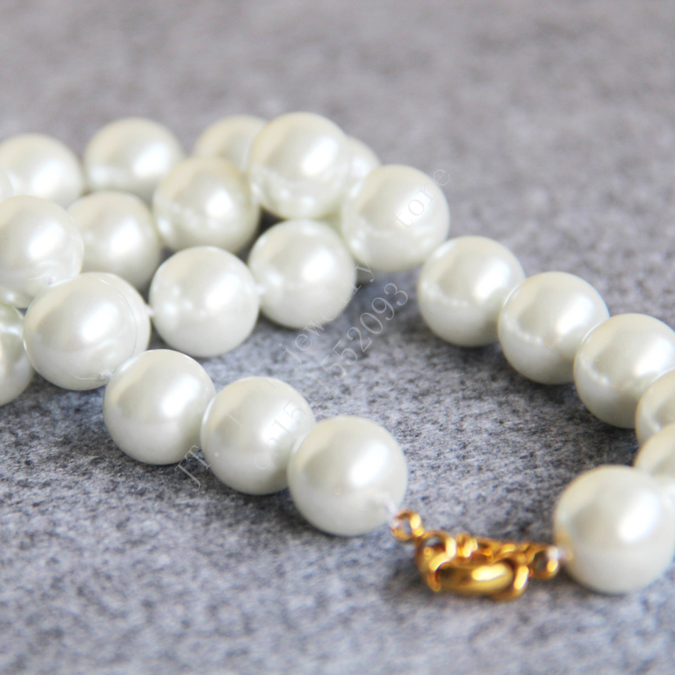 T8302 New 14mm White Shell pearl Necklace Shell beads,Fashion charming women jewelry wholesale image