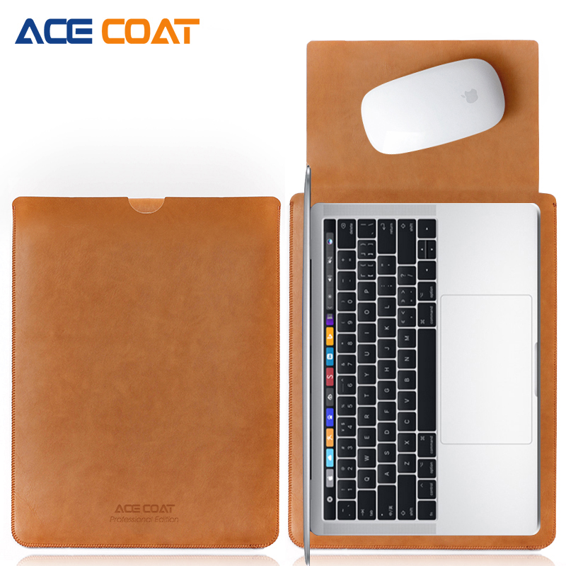 ACECOAT Microfiber PU leather Sleeve Protector bags For Apple Macbook Air Pro Retina13 12 15 laptop Cover For Mac book 13.3 inch image
