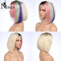 Синтетические волосы на кружеве натуральные волосы 4 тона волос Цвет бразильский Волосы remy короткий Боб 130% Плотность Узлы отбеливателя и пр