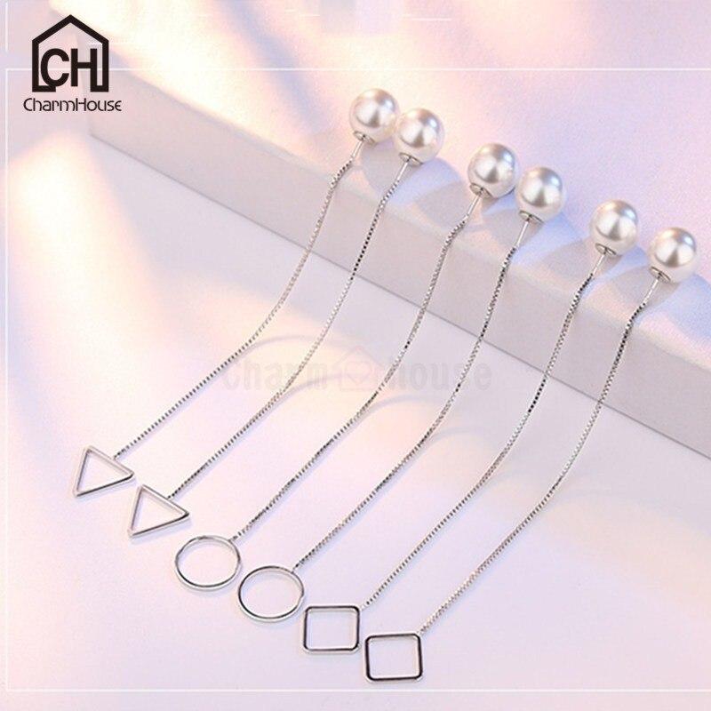 Новое поступление длинные жемчужные Висячие серьги для Для Женщин серебряные цепочки, ювелирные изделия заявление кисточкой серьги корейс...